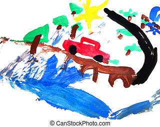 A child's painted picture of a car on a road.