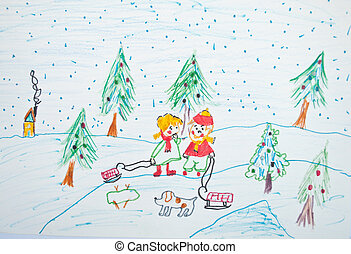 Child's painting of Christmas scene