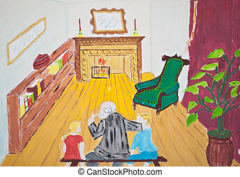 Child's painting of Grandfather with his grandchildren