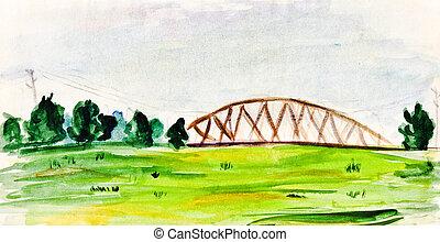 childs painting - summer lansdscape with railroad bridge