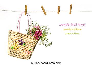 child\'s, palha, flores, bolsa