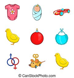 Childs play icons set, cartoon style