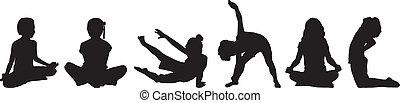 child\'s, silhouette, yoga