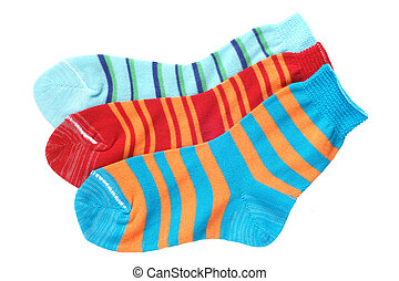 Child's striped socks isolated on a white background