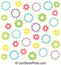 Child's texture of colored gears on a white background. Vector illustration.