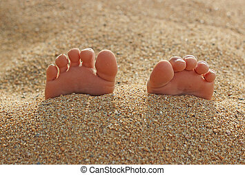 Child's Toes in the Sand