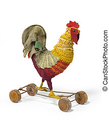 Childs toy a chicken rooster on wheels antique vintage