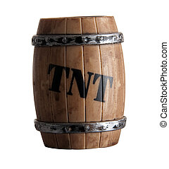 Child's toy: barrel of TNT isolated on white background by a...