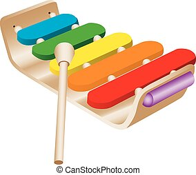 Illustration of a colorful child's xylophone.