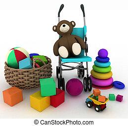 child's toys and pram