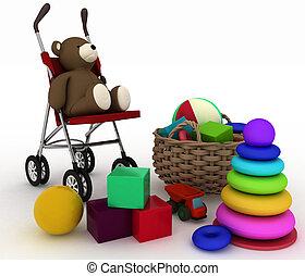 child's toys and pram - 3d render illustration of child's...