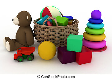 child's toys are in a basket.