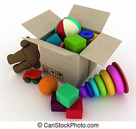 child's toys are in a box. 3d render illustration.