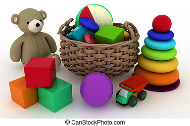 Child's toys in a small basket