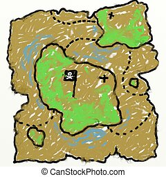 childs treasure map - childs style smudgy chalk treasure map...
