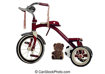 Child's Tricycle - Red child's tricycle on a white ...