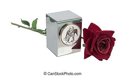 Baby or small child's urn for holding ashes with angel image on the front with Red Rose - path included