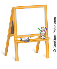 Childs Whiteboard Easel - Whiteboard on child's wood easel, ...