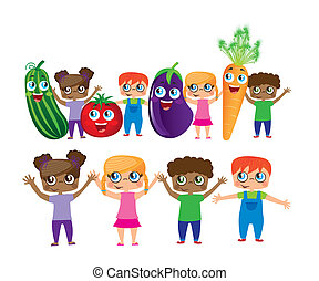 childs with vegetables cartoons isolated over white...