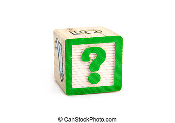 Childs wooden block with a question mark