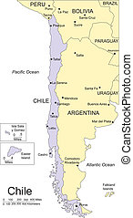 Chile, editable vector map broken down by administrative districts includes surrounding countries, in color with cities, district names and capitals, all objects editable. Great for building sales and marketing territory maps, illustrations, web graphics and graphic design. Includes sections of ...