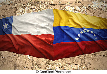 Chile and Venezuela - Waving Chilean and Venezuelan flags on...
