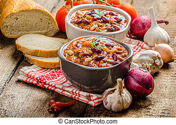 chile, bio, carne, casero, estafar, bread