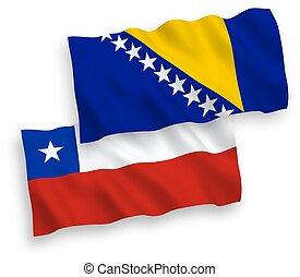 chile, bosnia, banderas, herzegovina, fondo blanco