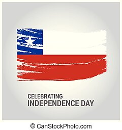 Chile Brush Stroke Country Flag with Independence Day...