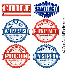 Chile cities stamps