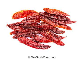 Chile de arbol seco dried hot Arbol pepper on white...