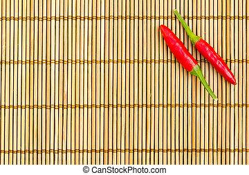 chile, estera bambú, rojo