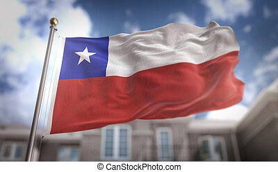 Chile Flag 3D Rendering on Blue Sky Building Background