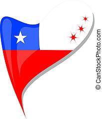 chile flag button heart shape. vector