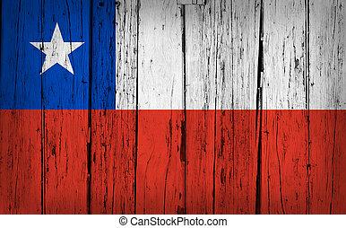 Chile Flag Grunge Wooden Background