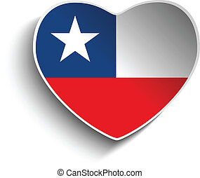 Chile Flag Heart Paper Sticker