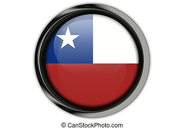 Chile flag in the button pin Isolated on White Background