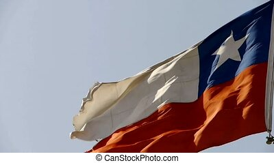 Chile flag is fluttering in wind.