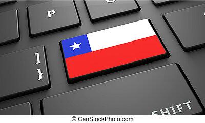 Chile flag keyboard enter button 3d render