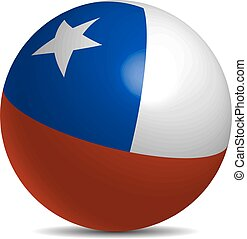 Chile flag on a 3d ball with shadow