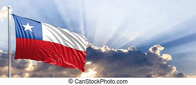 Chile flag on blue sky. 3d illustration