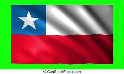 Chile flag on green screen for chroma key