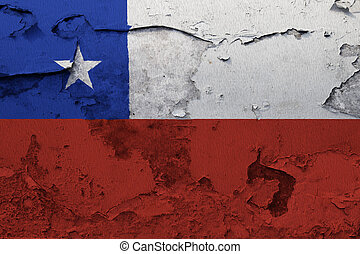 Chile flag painted on the cracked grunge concrete wall