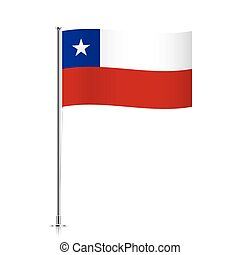 Chile flag waving on a metallic pole.