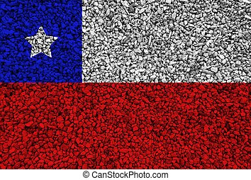 Chile flag with texture on a background