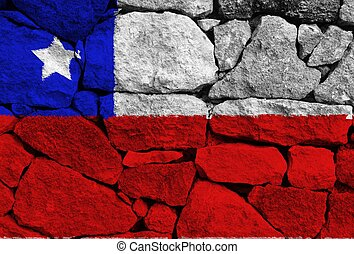 Chile flag with texture on background
