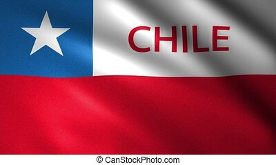 Chile flag with the name of the country