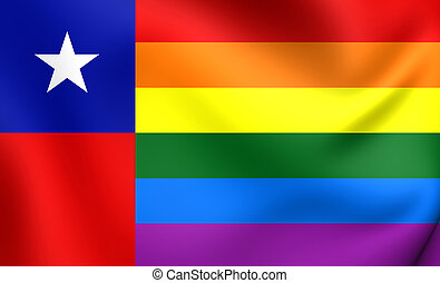 Chile Gay Flag. Close Up.