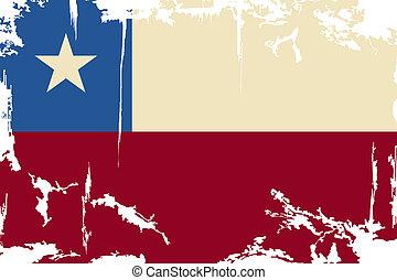 chile, grunge, flag., vector, ilustración