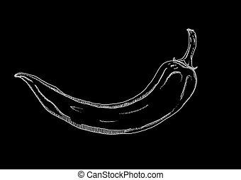 chile, imagen, pimienta, negro